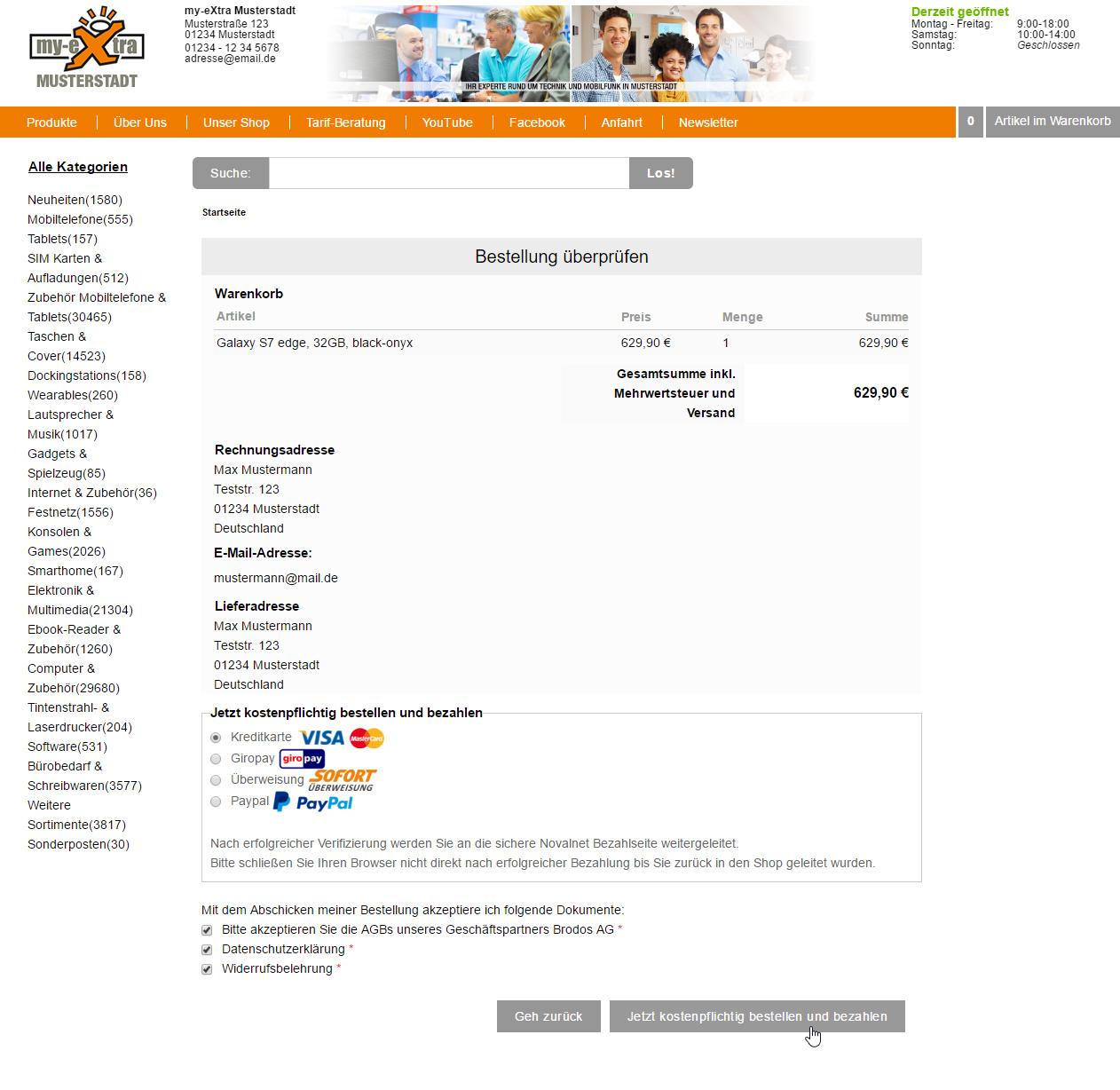 Onlineshop Zahlungsmethoden